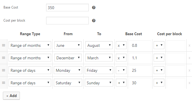 Setting Booking Cost